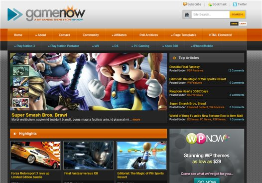 GameNow WPNow Premium Wordpress Theme