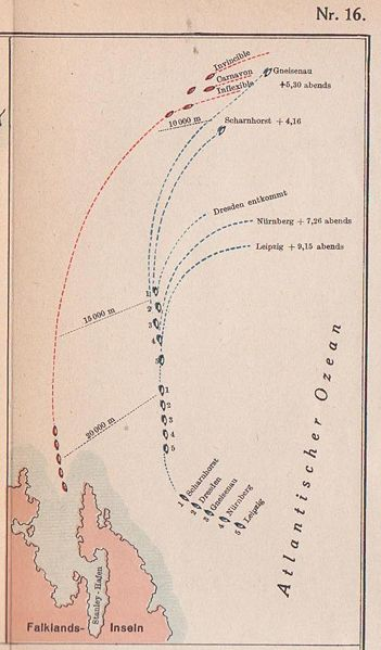 La guerre dans les colonies allemandes : Tsing Tao et l'escadre du Pacifique  Falklandschlacht-12eeb3c